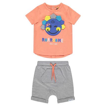 Σύνολο με μπλούζα με μπάλωμα ©Smiley και βερμούδα με τσέπες