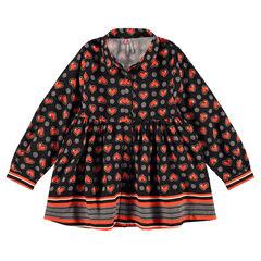 Μακρυμάνικο πουκάμισο εβαζέ με καρδούλες και ρίγες σε όλη την επιφάνεια