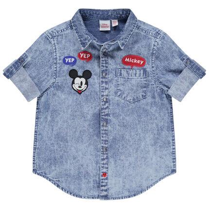 Πουκάμισο κοντομάνικο με  badges Mickey Disney και τσέπη
