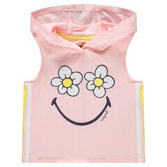 Αμάνικη μπλούζα με κουκούλα και στάμπα λουλούδια και μοτίβο  ©Smiley
