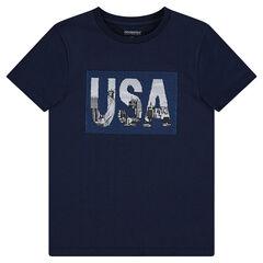 Παιδικά - Κοντομάνικη μπλούζα από ζέρσεϊ με αμερικάνικο τοπίο και «μαγικές» πούλιες