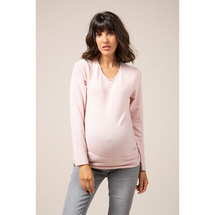Λεπτό πλεκτό εγκυμοσύνης σε απαλό ροζ χρώμα