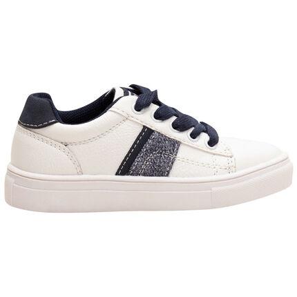 Αθλητικά παπούτσια με κορδόνια σε αντίθεση και απλικέ λωρίδες, από 24 έως 27