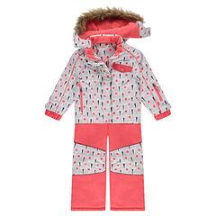 Εμπριμέ φόρμα του σκι σε κοραλλί χρώμα με φλις επένδυση και αφαιρούμενη κουκούλα