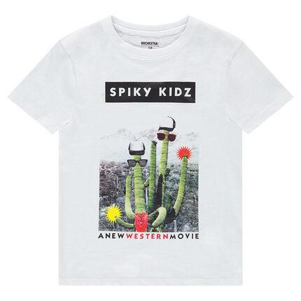 Παιδικά - Κοντομάνικη μπλούζα από ζέρσεϊ με διακοσμητική στάμπα
