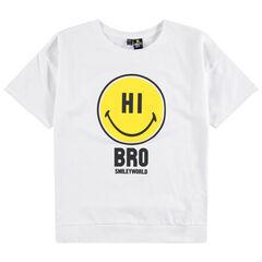 Παιδικά - Κοντομάνικη μονόχρωμη μπλούζα με στάμπα Smiley