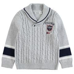 Πλεκτό πουλόβερ με κοτσίδες, κεντημένο σήμα και λωρίδες σε αντίθεση