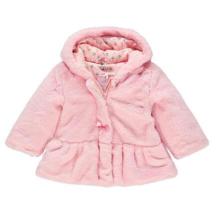 Manteau à capuche en fausse fourrure avec noeuds fantaisie