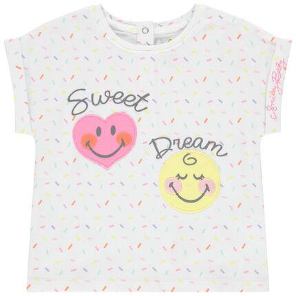 Κοντομάνικη εμπριμέ μπλούζα από βιολογικό βαμβάκι με μοτίβα Smiley