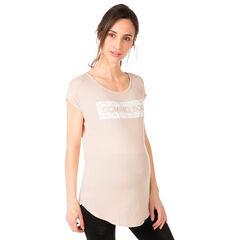 Κοντομάνικη μπλούζα εγκυμοσύνης με κρακελέ στάμπα