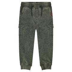 Παντελόνι φόρμας από φανέλα με κηλίδες στην ύφανση και τσέπες
