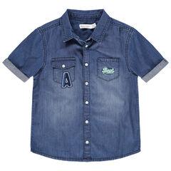 Κοντομάνικο τζιν πουκάμισο με used όψη, τσέπες και κεντήματα