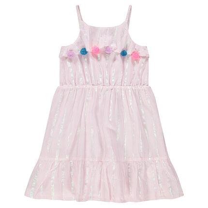 Φόρεμα με βολάν με πομ πον και ιριδίζουσες ρίγες
