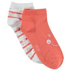 Σετ 2 ζευγάρια κάλτσες ©Smiley, ένα μονόχρωμο / ένα ριγέ