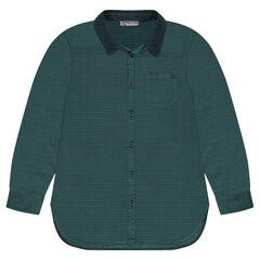 Παιδικά - Βαμβακερό πουκάμισο με βελουτέ λαιμόκοψη