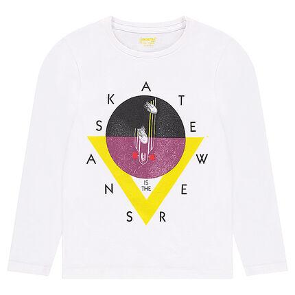 Μακρυμάνικη μπλούζα από μονόχρωμο ζέρσεϊ με διακοσμητική στάμπα