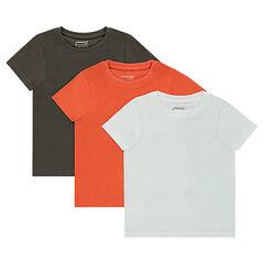 Σετ με 3 μονόχρωμα κοντομάνικα μπλουζάκια από ζέρσεϊ
