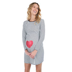Ριγέ νυχτικό εγκυμοσύνης και θηλασμού με στάμπα καρδιά