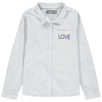 Μακρυμάνικο πουκάμισο με ρίγες και κεντημένη φράση