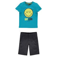 Πιτζάμα ζέρσεϊ με κοντομάνικο μπλουζάκι και στάμπα ©Smiley