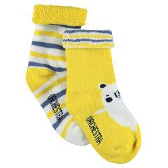 Σετ με 2 ζευγάρια κάλτσες σε ύφανση πετσετέ με αρκουδάκι και ρίγες ζακάρ