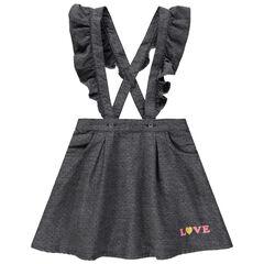 Βαμβακερή φούστα με ανάγλυφα πουά, τιράντες και βολάν