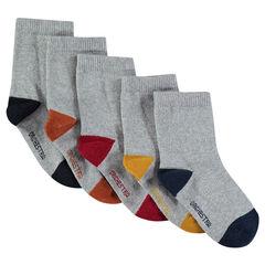Σετ 5 ζευγάρια μονόχρωμες ασορτί κάλτσες με φτέρνα και μύτη σε αντίθεση