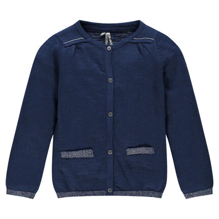 Gilet en tricot avec fils argentés et broderie