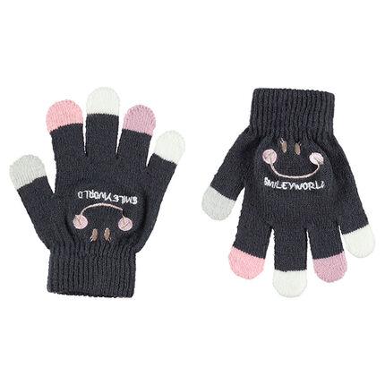Γάντια πλεκτά με γράμματα και κεντημένο ©Smiley