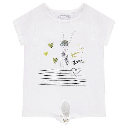 Κοντομάνικη μπλούζα ζέρσεϊ με στάμπα κολυμβήτρια
