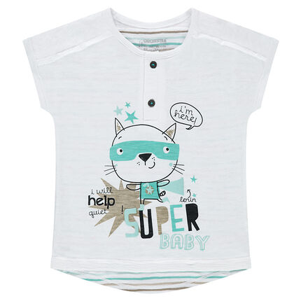Κοντομάνικη μπλούζα από ζέρσεϊ με ρίγες σε αντίθεση και στάμπα γάτα