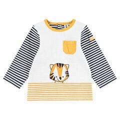Μακρυμάνικη μπλούζα από ζέρσεϊ με ρίγες και τυπωμένη τίγρη