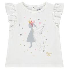 Κοντομάνικη μπλούζα με βολάν και στάμπα πριγκίπισσα