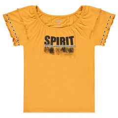 Παιδικά - Κοντομάνικη μπλούζα από βισκόζη με φουντίτσες
