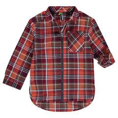 Μακρυμάνικο καρό πουκάμισο με φερμουάρ