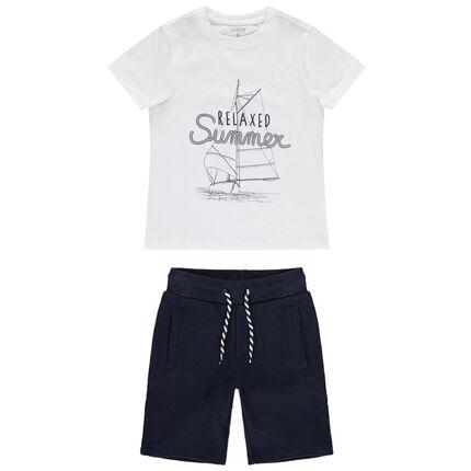 Σύνολο κοντομάνικη μπλούζα με στάμπα ιστιοφόρο και βερμούδα