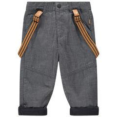 Παντελόνι με λεπτές ρίγες, τιράντες και φλις επένδυση