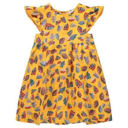 Κοντομάνικο φόρεμα με βολάν στα μανίκια και έθνικ μοτίβο