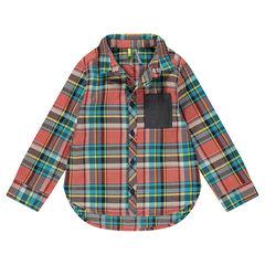 Καρό βαμβακερό πουκάμισο με φαντεζί ύφανση και τσέπη