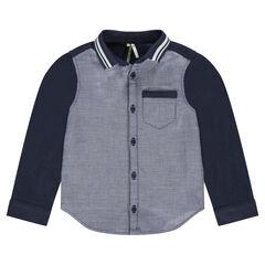 Μακρυμάνικο πουκάμισο σε βαμβακερή ύφανση με ριγέ λαιμόκοψη