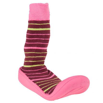Chaussons chaussettes imprimé rayé et semelle gomme
