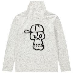 Παιδικά - Μακρυμάνικη μπλούζα με όρθιο λαιμό και στάμπα νεκροκεφαλή