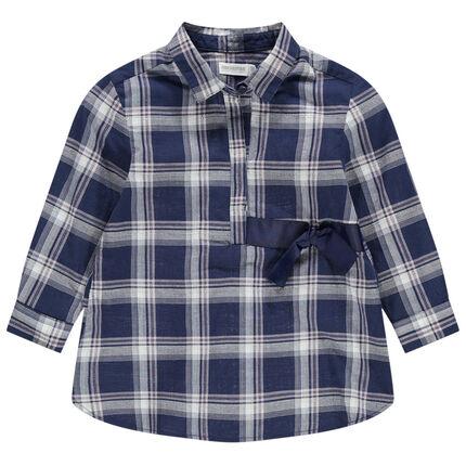 Μακρυμάνικο πουκάμισο καρό με σατινέ κορδόνια