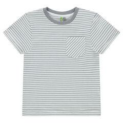 Κοντομάνικη μπλούζα με ρίγες σε όλη την επιφάνεια και τσέπη