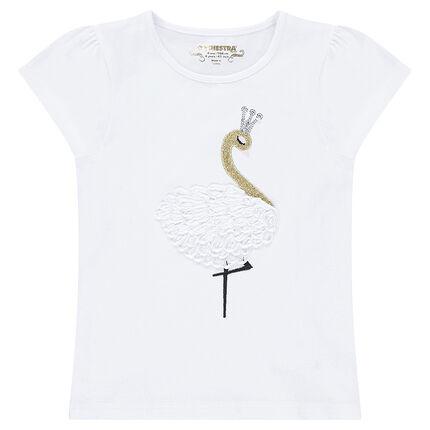 Κοντομάνικη μπλούζα από ζέρσεϊ με κεντημένο κύκνο