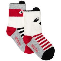 Lot de 2 paires de chaussettes à rayures et animaux en jacquard