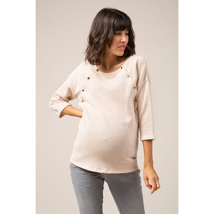 Φούτερ εγκυμοσύνης με μεταλλιζέ ίνες και κούμπωμα μπροστά