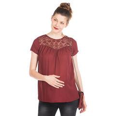Top de grossesse manches courtes avec guipure et plis soleil