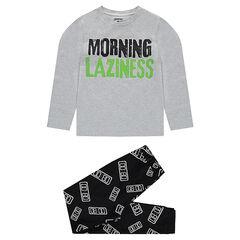 Παιδικά - Ζέρσεϊ πιτζάμα με τυπωμένο μήνυμα στην μπλούζα και εμπριμέ παντελόνι