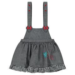 Φόρεμα με τιράντες από σαμπρέ ύφασμα και κεντήματα Minnie